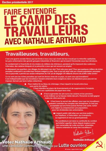 Affiche Officielle de campage de Nathalie ARTHAUD